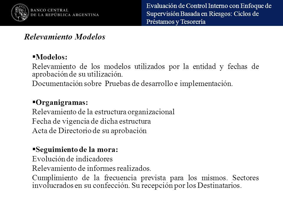 Evaluación de Control Interno con Enfoque de Supervisión Basada en Riesgos: Ciclos de Préstamos y Tesorería Relevamiento Modelos Modelos: Relevamiento