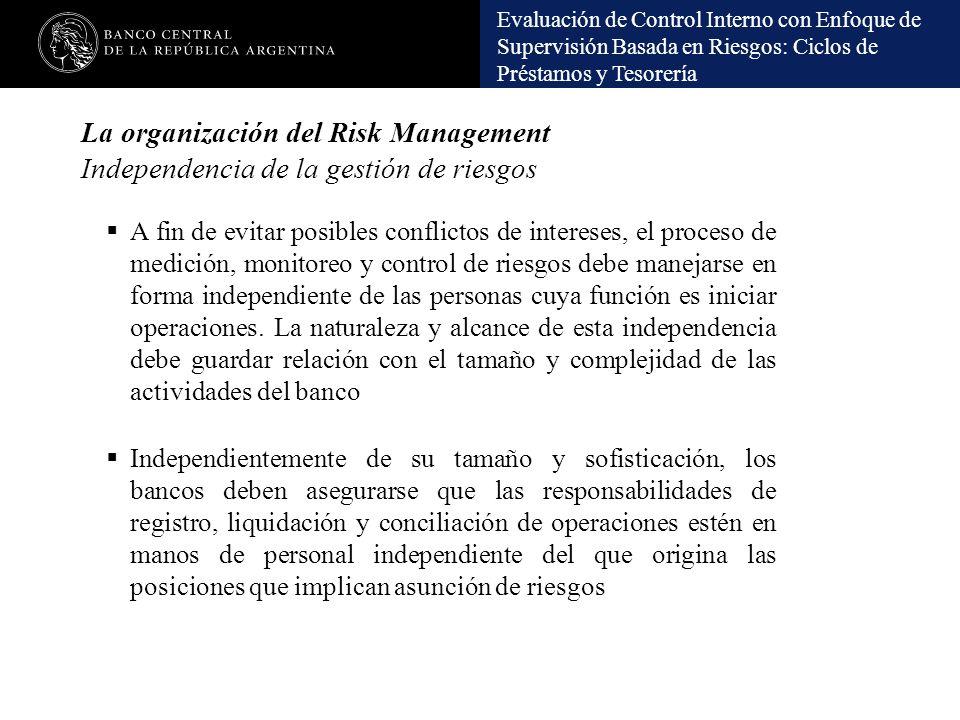 Evaluación de Control Interno con Enfoque de Supervisión Basada en Riesgos: Ciclos de Préstamos y Tesorería La organización del Risk Management Indepe