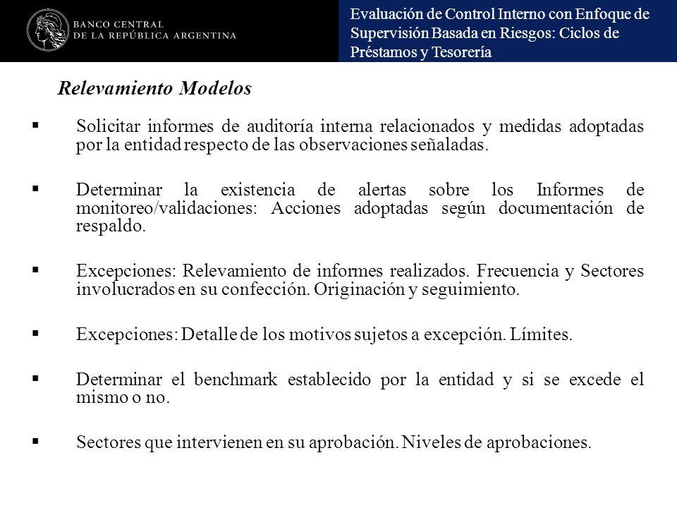 Evaluación de Control Interno con Enfoque de Supervisión Basada en Riesgos: Ciclos de Préstamos y Tesorería Relevamiento Modelos Solicitar informes de
