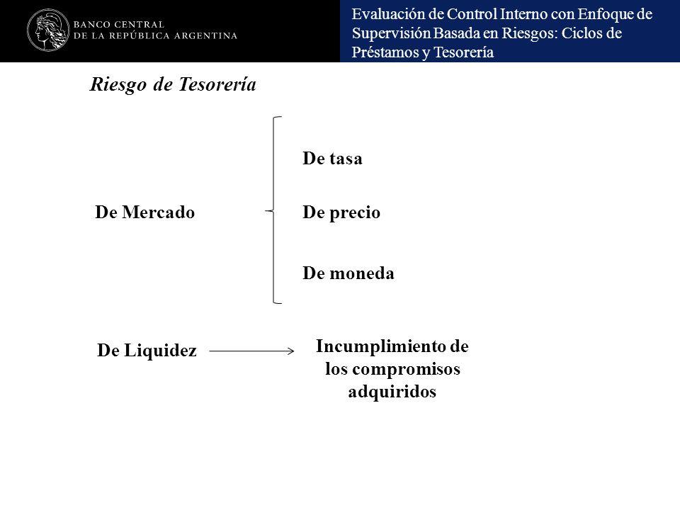 Evaluación de Control Interno con Enfoque de Supervisión Basada en Riesgos: Ciclos de Préstamos y Tesorería Riesgo de Tesorería De Mercado De Liquidez