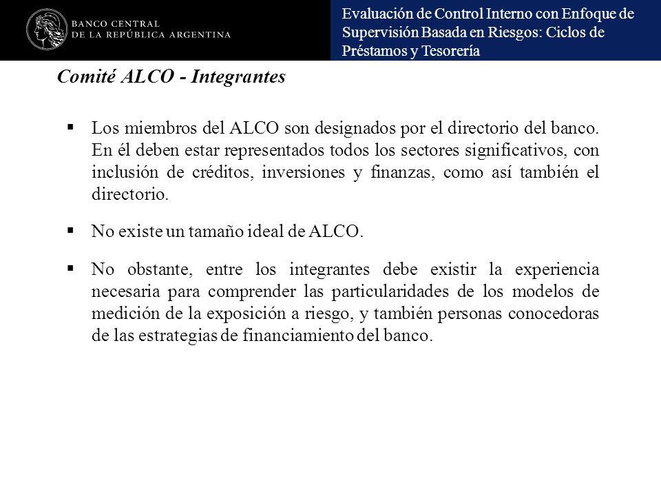 Evaluación de Control Interno con Enfoque de Supervisión Basada en Riesgos: Ciclos de Préstamos y Tesorería Los miembros del ALCO son designados por e
