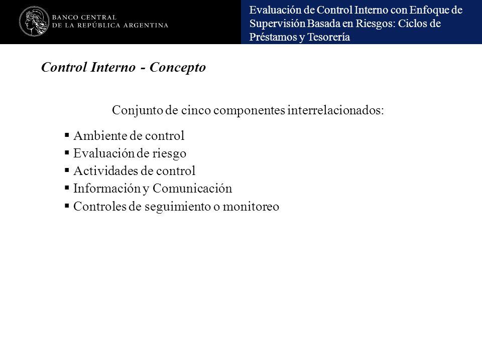 Evaluación de Control Interno con Enfoque de Supervisión Basada en Riesgos: Ciclos de Préstamos y Tesorería Control Interno - Concepto Conjunto de cin
