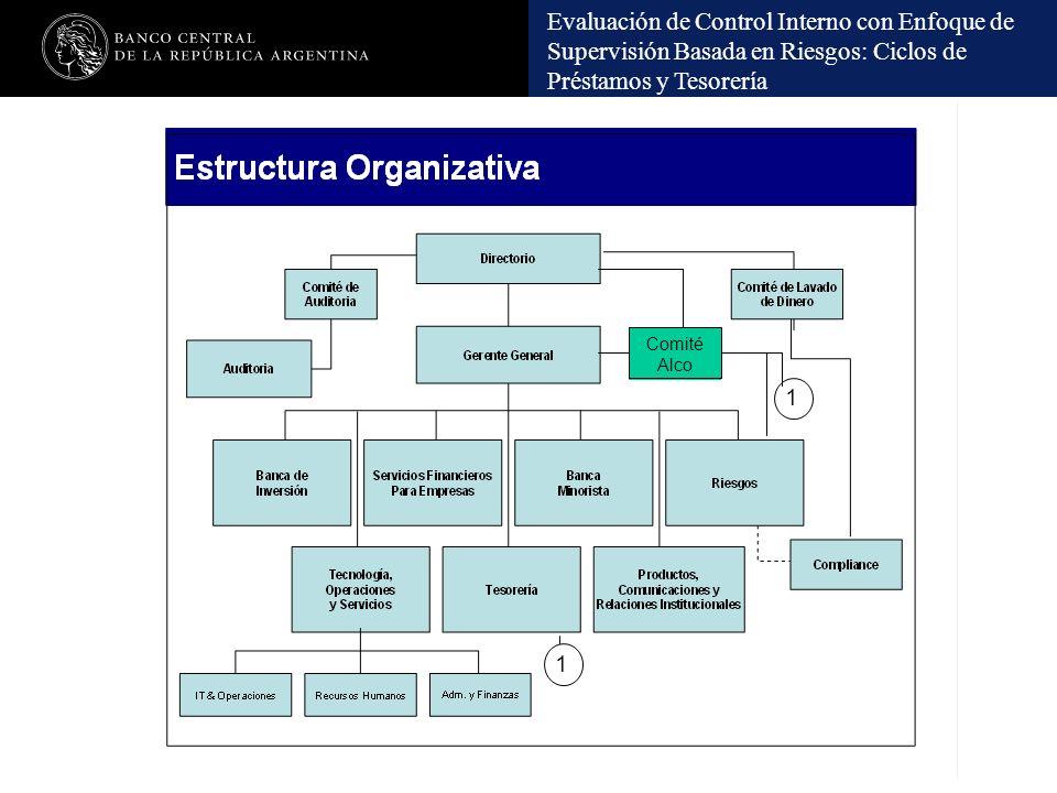 Evaluación de Control Interno con Enfoque de Supervisión Basada en Riesgos: Ciclos de Préstamos y Tesorería Comité Alco 1 1