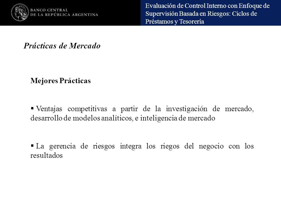 Evaluación de Control Interno con Enfoque de Supervisión Basada en Riesgos: Ciclos de Préstamos y Tesorería Prácticas de Mercado Mejores Prácticas Ven