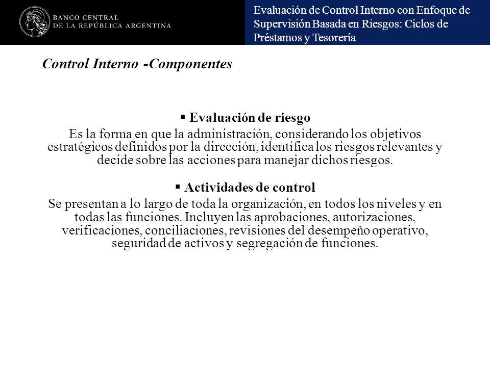 Evaluación de Control Interno con Enfoque de Supervisión Basada en Riesgos: Ciclos de Préstamos y Tesorería Control Interno -Componentes Evaluación de