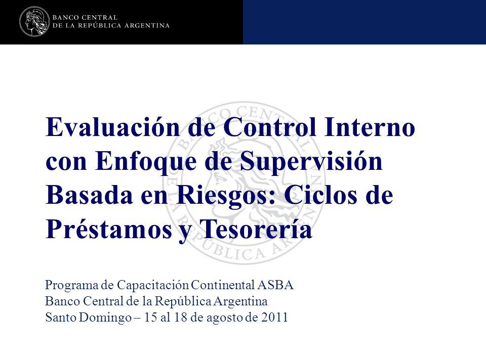 Evaluación de Control Interno con Enfoque de Supervisión Basada en Riesgos: Ciclos de Préstamos y Tesorería Evaluación de Control Interno con Enfoque