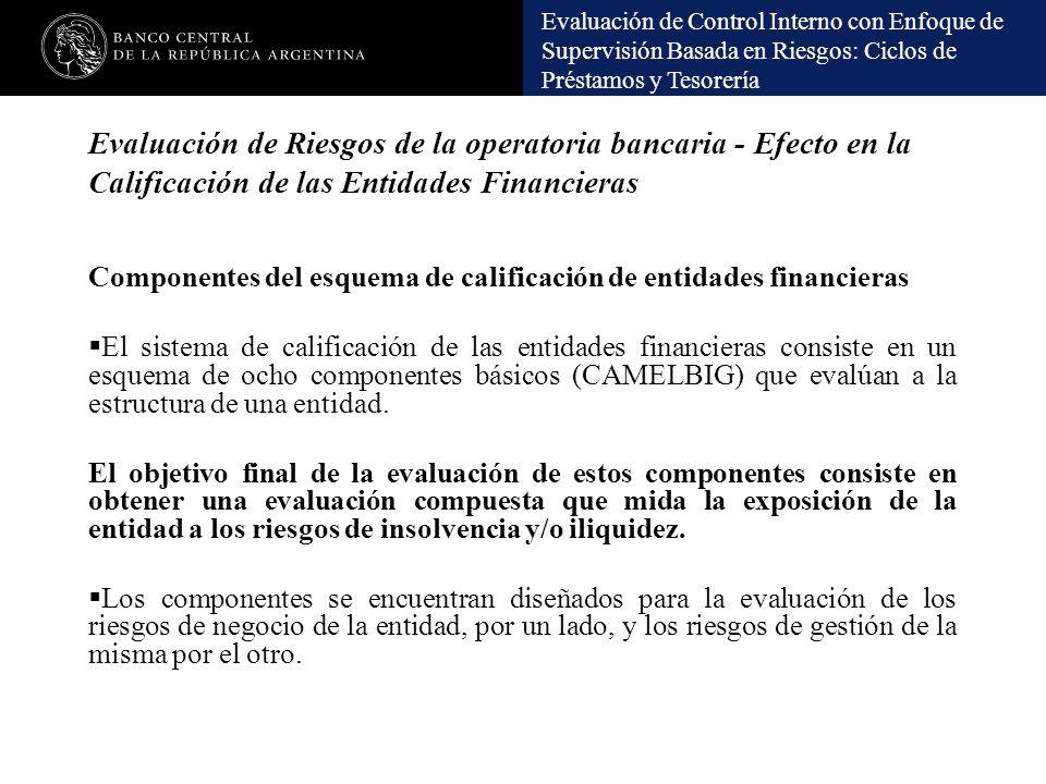Evaluación de Control Interno con Enfoque de Supervisión Basada en Riesgos: Ciclos de Préstamos y Tesorería Evaluación de Riesgos de la operatoria ban