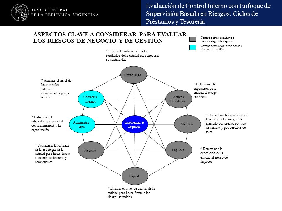 Evaluación de Control Interno con Enfoque de Supervisión Basada en Riesgos: Ciclos de Préstamos y Tesorería Componentes evaluativos de los riesgos de