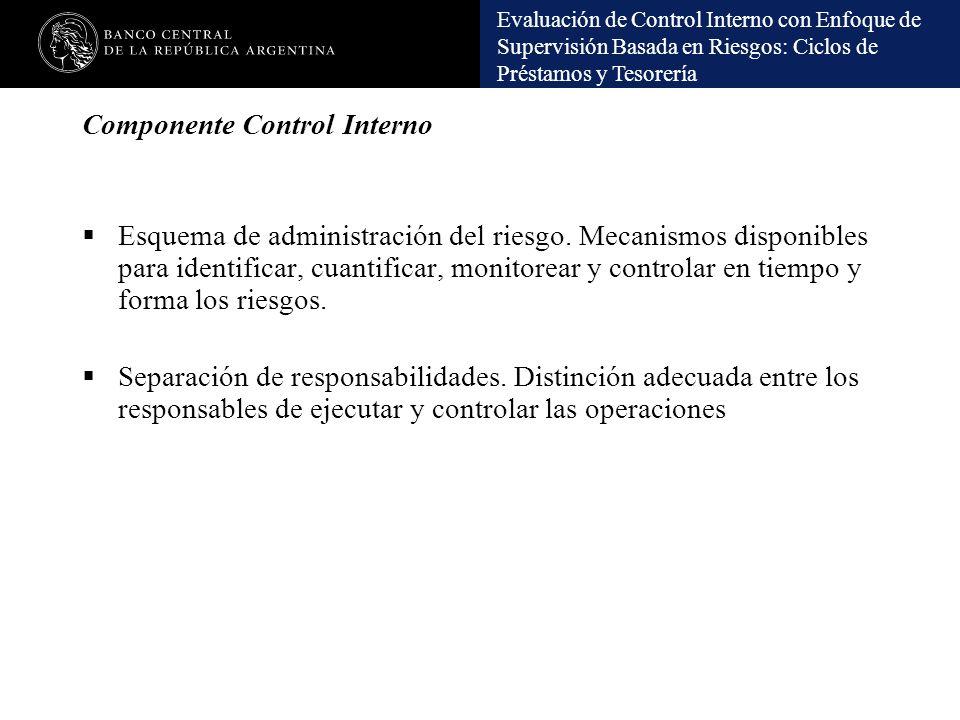 Evaluación de Control Interno con Enfoque de Supervisión Basada en Riesgos: Ciclos de Préstamos y Tesorería Componente Control Interno Esquema de admi