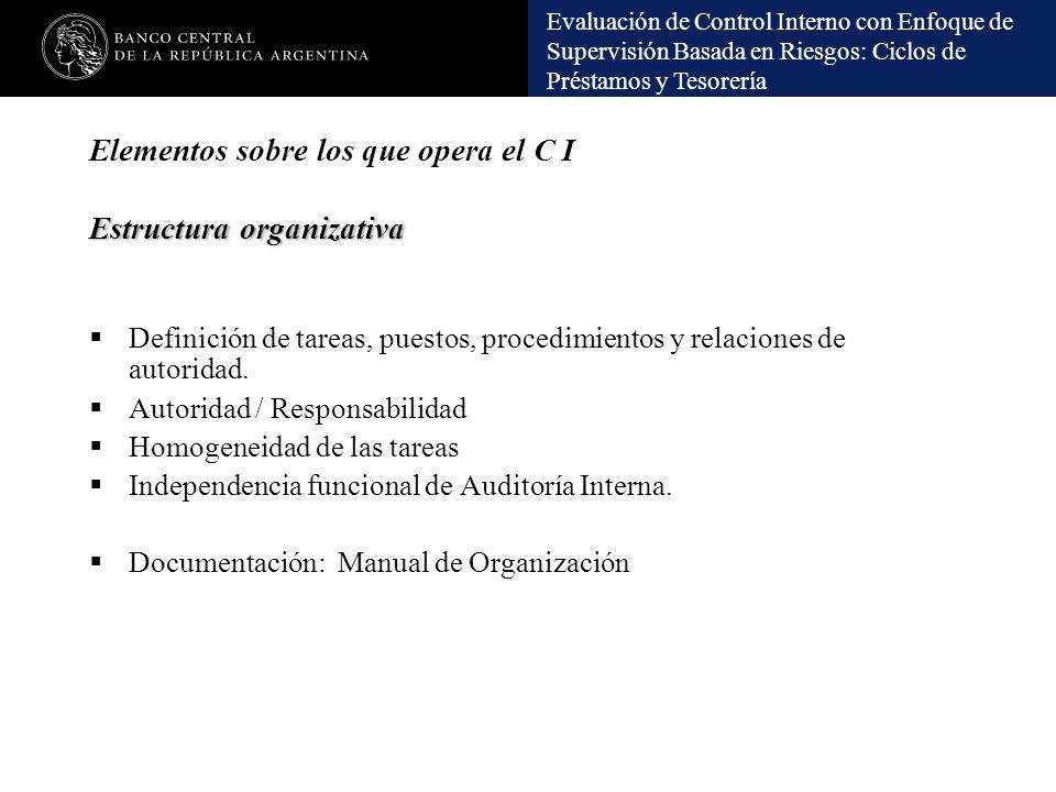 Evaluación de Control Interno con Enfoque de Supervisión Basada en Riesgos: Ciclos de Préstamos y Tesorería Estructura organizativa Elementos sobre lo