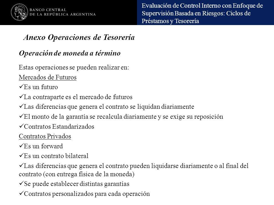 Evaluación de Control Interno con Enfoque de Supervisión Basada en Riesgos: Ciclos de Préstamos y Tesorería Operación de moneda a término Estas operac