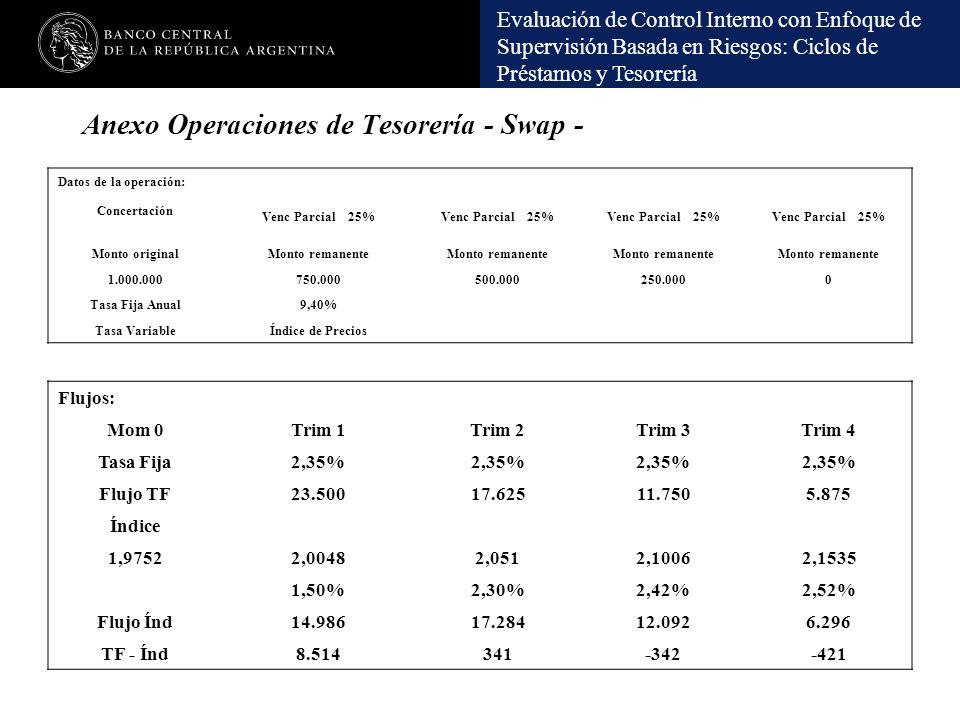 Evaluación de Control Interno con Enfoque de Supervisión Basada en Riesgos: Ciclos de Préstamos y Tesorería Datos de la operación: Concertación Venc P