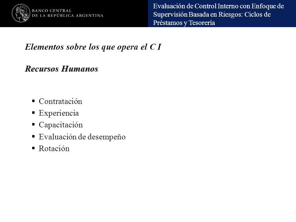 Evaluación de Control Interno con Enfoque de Supervisión Basada en Riesgos: Ciclos de Préstamos y Tesorería Recursos Humanos Elementos sobre los que o