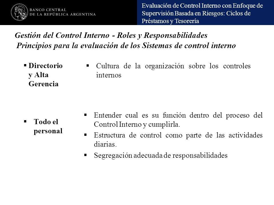 Evaluación de Control Interno con Enfoque de Supervisión Basada en Riesgos: Ciclos de Préstamos y Tesorería Gestión del Control Interno - Roles y Resp