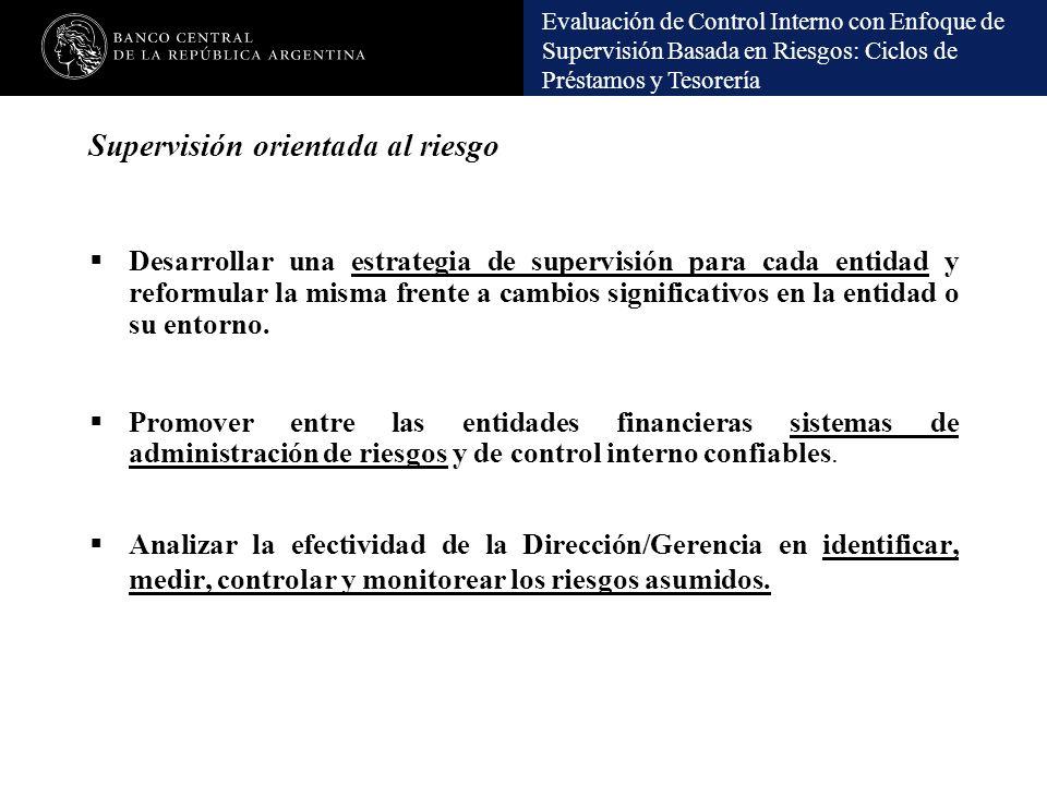 Evaluación de Control Interno con Enfoque de Supervisión Basada en Riesgos: Ciclos de Préstamos y Tesorería Supervisión orientada al riesgo Desarrolla