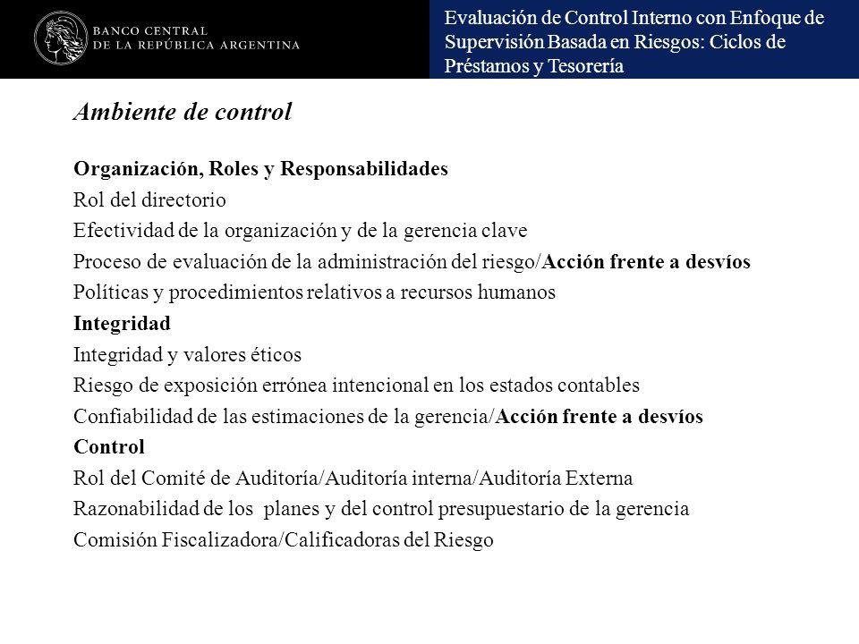 Evaluación de Control Interno con Enfoque de Supervisión Basada en Riesgos: Ciclos de Préstamos y Tesorería Ambiente de control Organización, Roles y