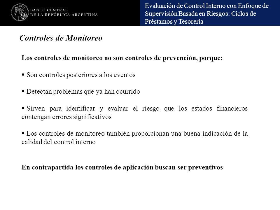 Evaluación de Control Interno con Enfoque de Supervisión Basada en Riesgos: Ciclos de Préstamos y Tesorería Controles de Monitoreo Los controles de mo