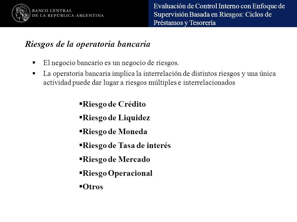 Evaluación de Control Interno con Enfoque de Supervisión Basada en Riesgos: Ciclos de Préstamos y Tesorería Riesgos de la operatoria bancaria El negoc
