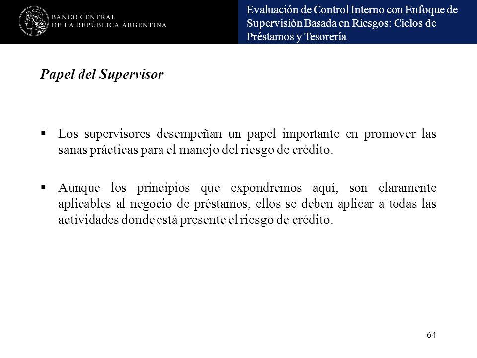 Evaluación de Control Interno con Enfoque de Supervisión Basada en Riesgos: Ciclos de Préstamos y Tesorería Papel del Supervisor Los supervisores dese