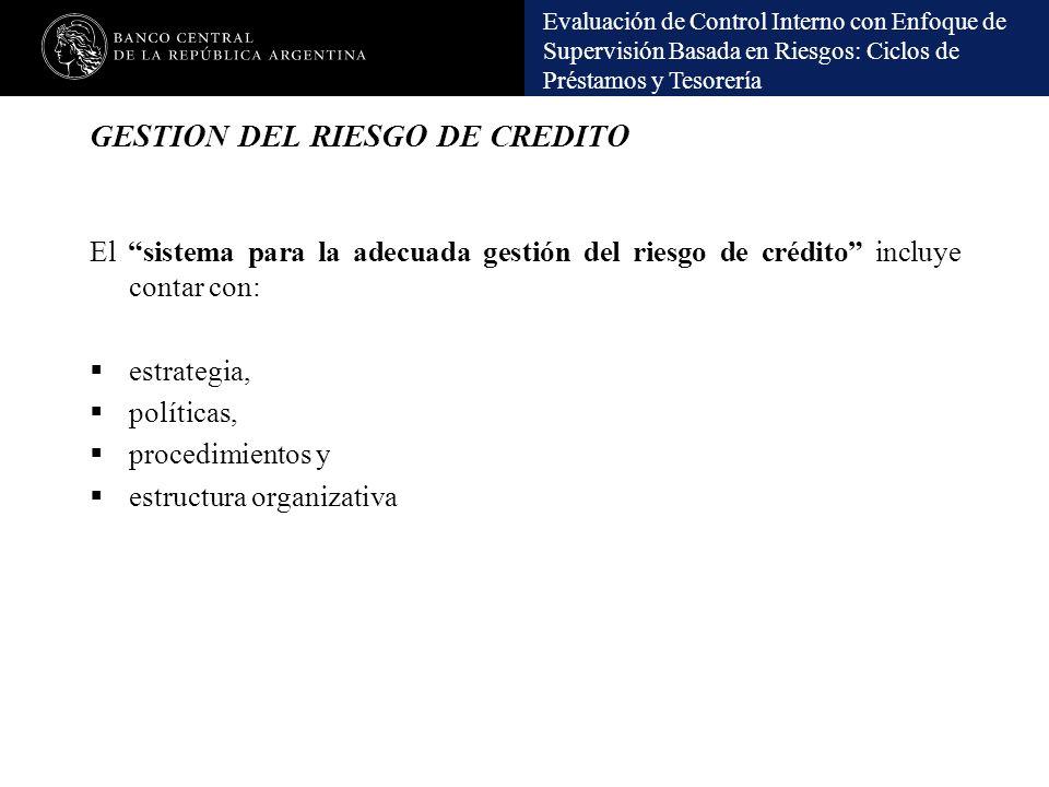 Evaluación de Control Interno con Enfoque de Supervisión Basada en Riesgos: Ciclos de Préstamos y Tesorería GESTION DEL RIESGO DE CREDITO El sistema p
