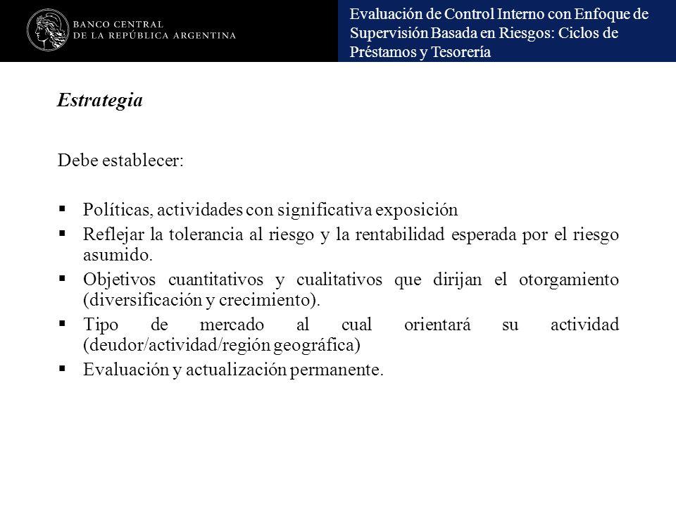 Evaluación de Control Interno con Enfoque de Supervisión Basada en Riesgos: Ciclos de Préstamos y Tesorería Estrategia Debe establecer: Políticas, act
