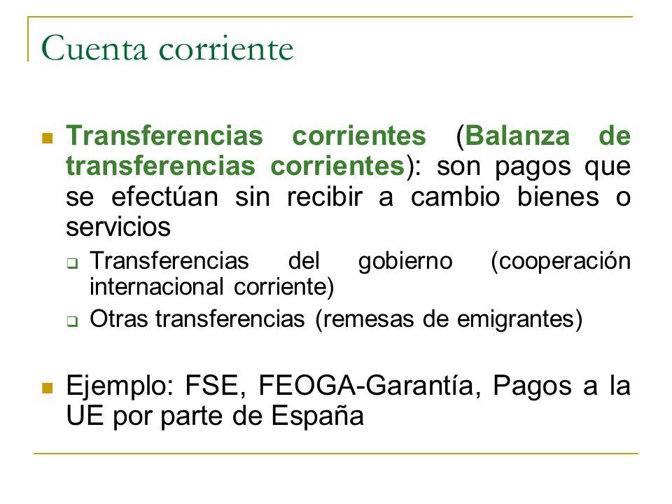 Cuenta corriente Transferencias corrientes (Balanza de transferencias corrientes): son pagos que se efectúan sin recibir a cambio bienes o servicios T