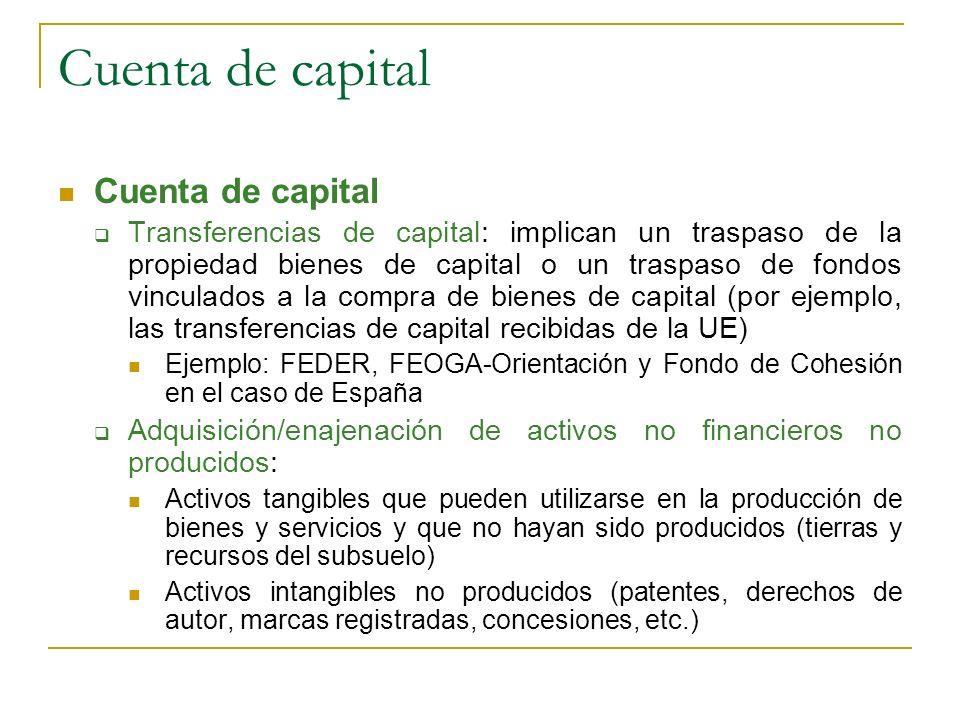 Cuenta de capital Transferencias de capital: implican un traspaso de la propiedad bienes de capital o un traspaso de fondos vinculados a la compra de