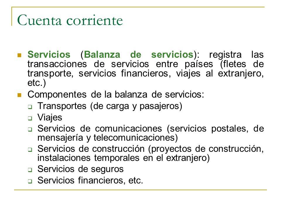 Cuenta corriente Servicios (Balanza de servicios): registra las transacciones de servicios entre países (fletes de transporte, servicios financieros,