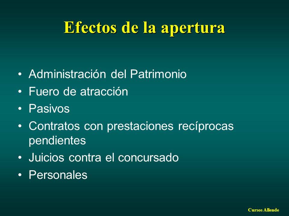 Cursos Allende Efectosde la apertura Efectos de la apertura Administración del Patrimonio Fuero de atracción Pasivos Contratos con prestaciones recíprocas pendientes Juicios contra el concursado Personales
