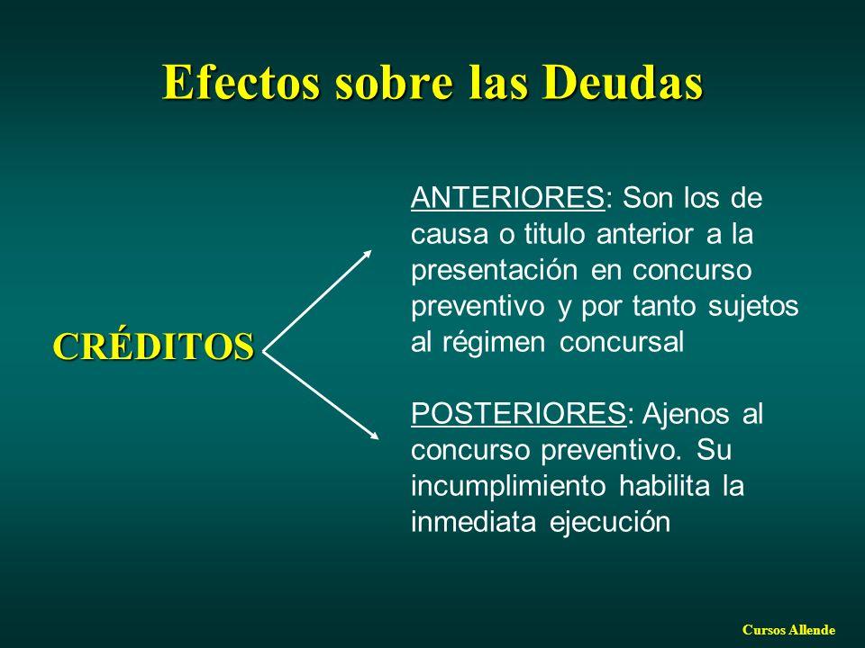 Cursos Allende Efectossobre las Deudas Efectos sobre las Deudas CRÉDITOS ANTERIORES: Son los de causa o titulo anterior a la presentación en concurso