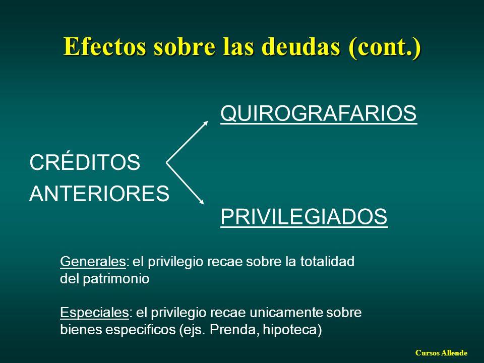 Cursos Allende Efectos sobre las deudas (cont.) CRÉDITOS ANTERIORES QUIROGRAFARIOS PRIVILEGIADOS Generales: el privilegio recae sobre la totalidad del