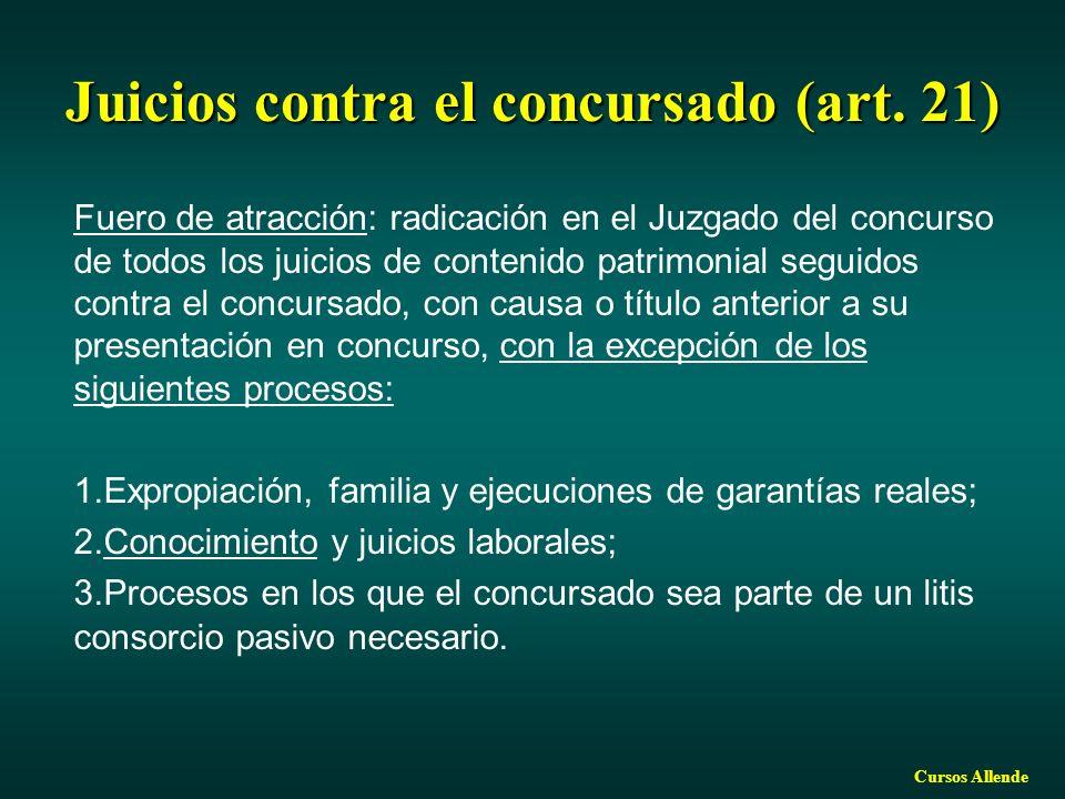Cursos Allende Juicios contra el concursado (art. 21) Fuero de atracción: radicación en el Juzgado del concurso de todos los juicios de contenido patr