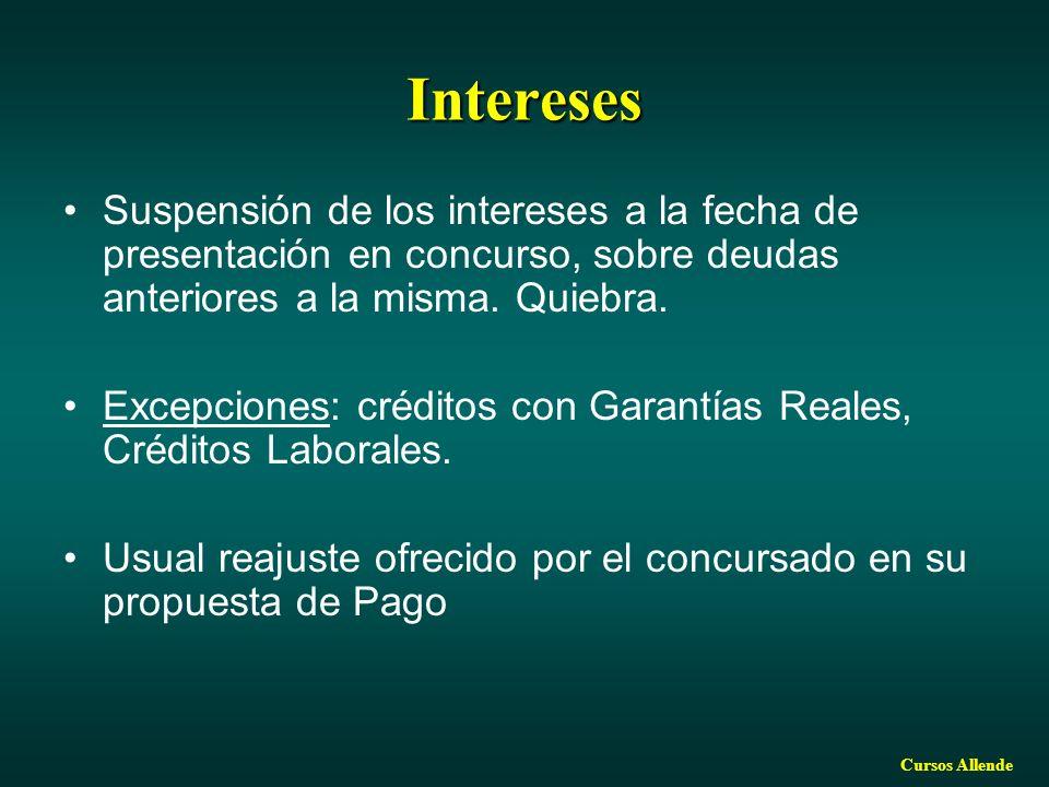 Cursos Allende Intereses Suspensión de los intereses a la fecha de presentación en concurso, sobre deudas anteriores a la misma. Quiebra. Excepciones: