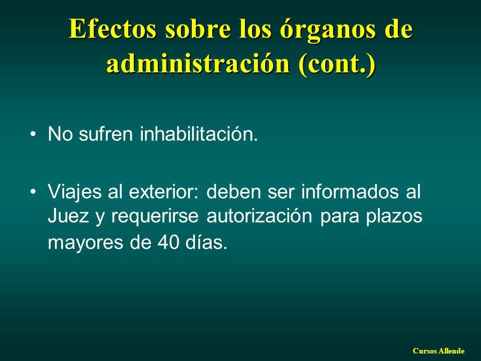 Cursos Allende Efectos sobre los órganos de administración (cont.) No sufren inhabilitación. Viajes al exterior: deben ser informados al Juez y requer
