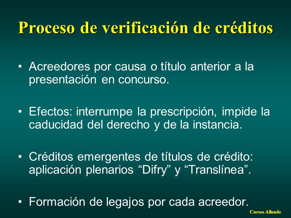 Cursos Allende Proceso de verificación de créditos Acreedores por causa o título anterior a la presentación en concurso. Efectos: interrumpe la prescr