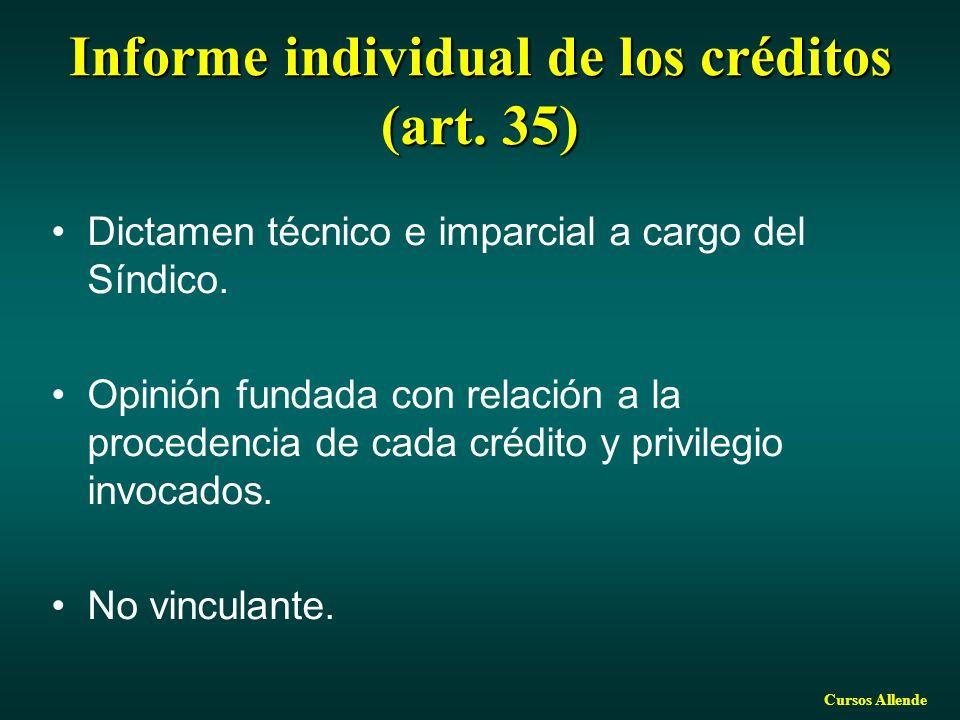 Cursos Allende Informe individual de los créditos (art. 35) Dictamen técnico e imparcial a cargo del Síndico. Opinión fundada con relación a la proced