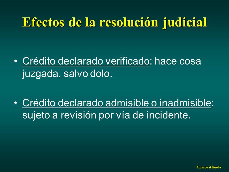 Cursos Allende Efectos de la resolución judicial Crédito declarado verificado: hace cosa juzgada, salvo dolo. Crédito declarado admisible o inadmisibl