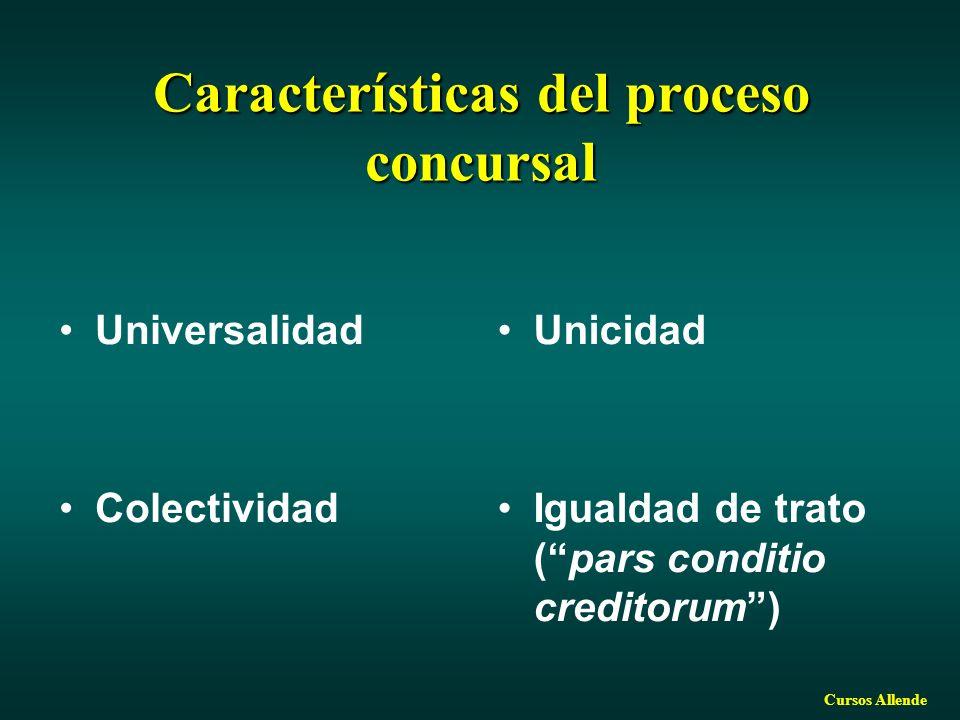 Cursos Allende Características del proceso concursal Universalidad Colectividad Unicidad Igualdad de trato (pars conditio creditorum)
