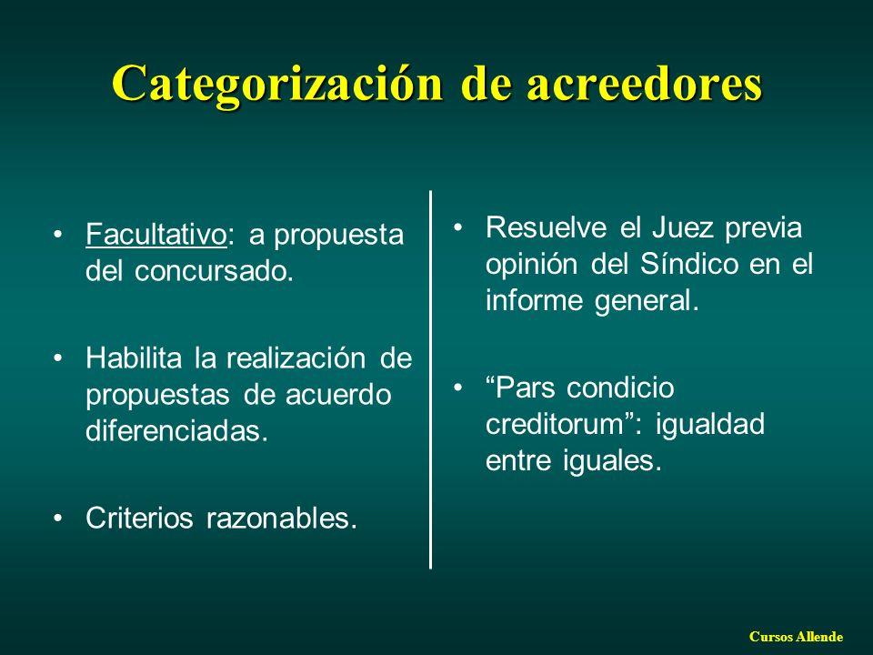 Cursos Allende Categorización de acreedores Facultativo: a propuesta del concursado. Habilita la realización de propuestas de acuerdo diferenciadas. C