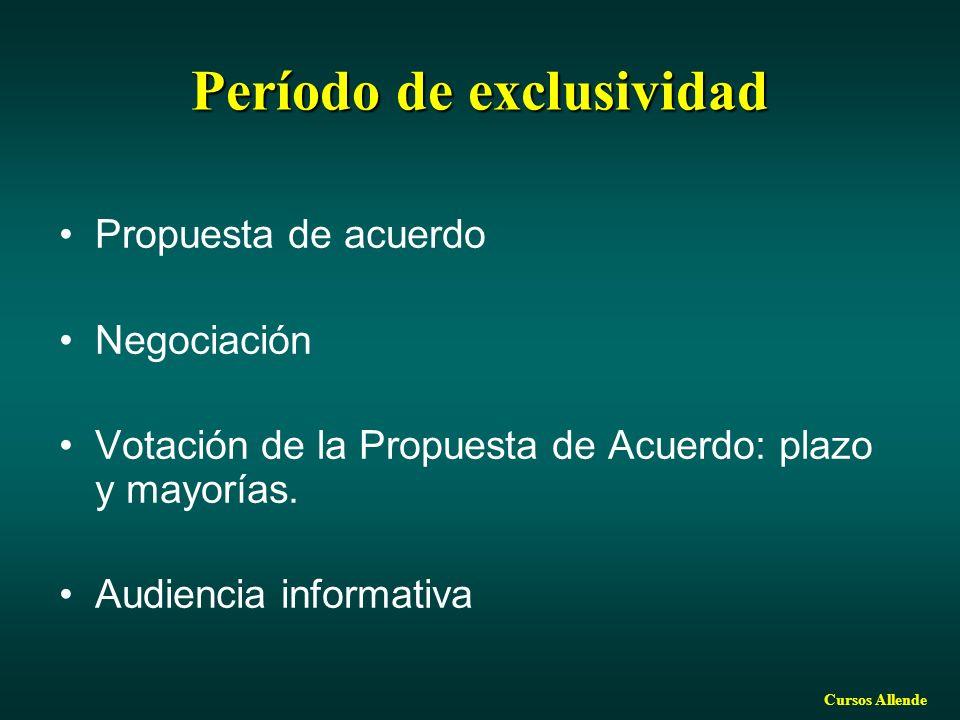 Cursos Allende Período de exclusividad Propuesta de acuerdo Negociación Votación de la Propuesta de Acuerdo: plazo y mayorías. Audiencia informativa