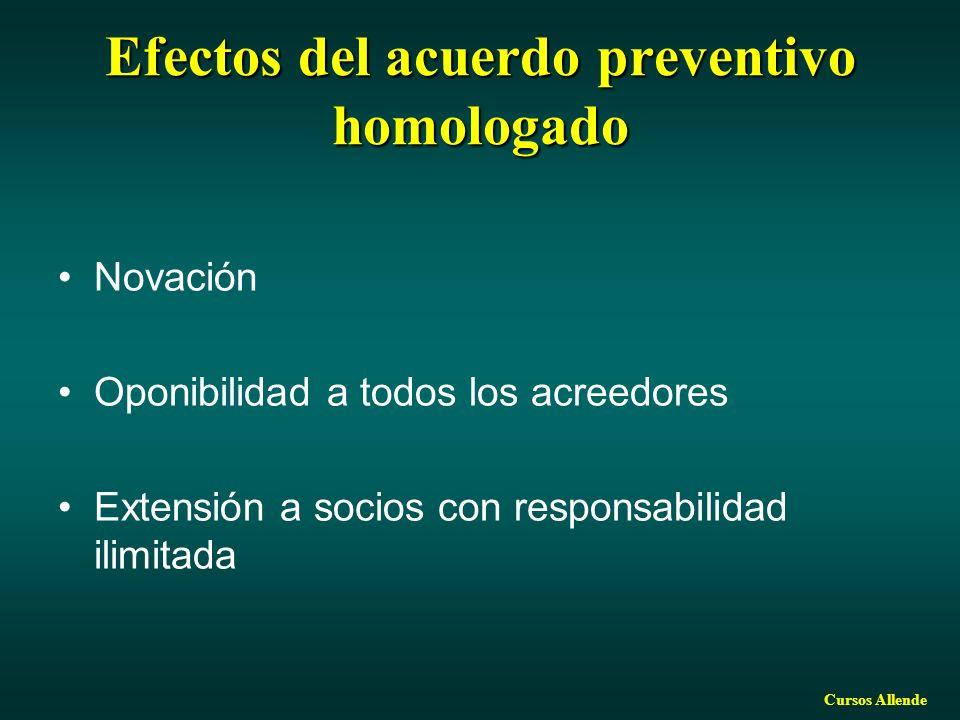 Cursos Allende Efectos del acuerdo preventivo homologado Novación Oponibilidad a todos los acreedores Extensión a socios con responsabilidad ilimitada