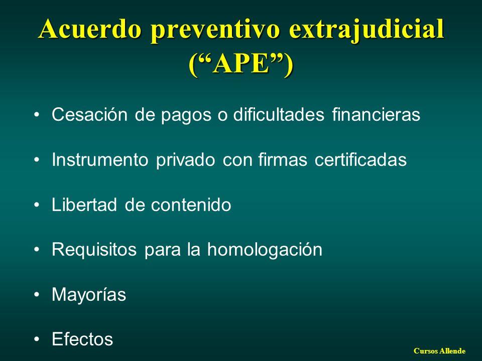 Cursos Allende Acuerdo preventivo extrajudicial (APE) Cesación de pagos o dificultades financieras Instrumento privado con firmas certificadas Libertad de contenido Requisitos para la homologación Mayorías Efectos