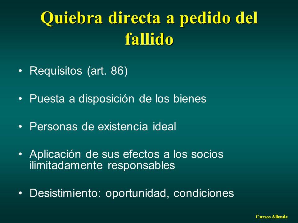 Cursos Allende Quiebra directa a pedido del fallido Requisitos (art. 86) Puesta a disposición de los bienes Personas de existencia ideal Aplicación de