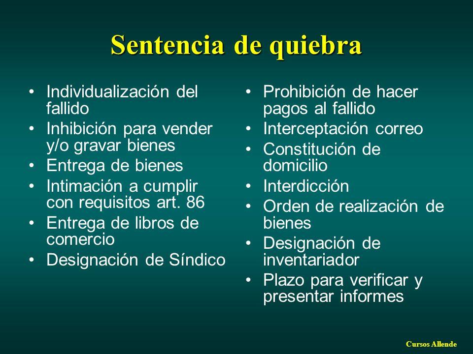 Cursos Allende Sentencia de quiebra Individualización del fallido Inhibición para vender y/o gravar bienes Entrega de bienes Intimación a cumplir con requisitos art.