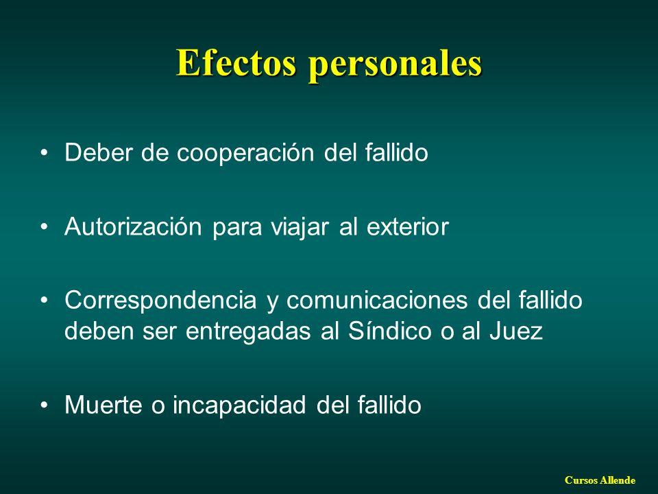 Cursos Allende Efectos personales Deber de cooperación del fallido Autorización para viajar al exterior Correspondencia y comunicaciones del fallido deben ser entregadas al Síndico o al Juez Muerte o incapacidad del fallido