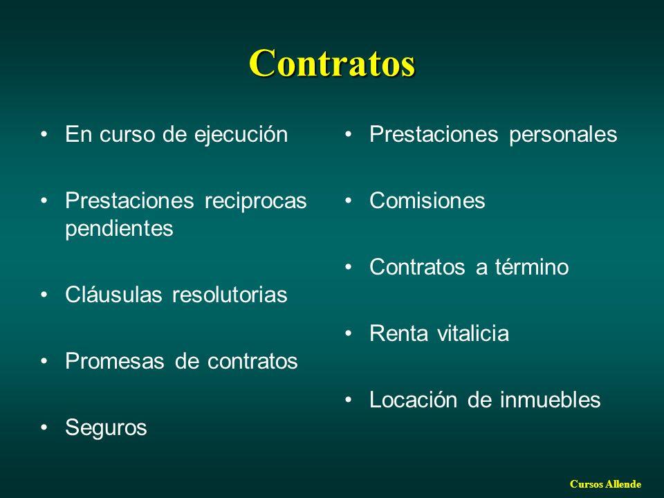 Cursos Allende Contratos En curso de ejecución Prestaciones reciprocas pendientes Cláusulas resolutorias Promesas de contratos Seguros Prestaciones personales Comisiones Contratos a término Renta vitalicia Locación de inmuebles