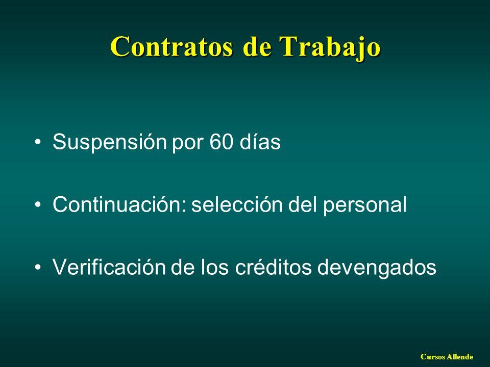 Cursos Allende Contratos de Trabajo Suspensión por 60 días Continuación: selección del personal Verificación de los créditos devengados
