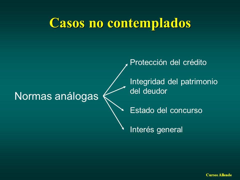 Cursos Allende Casos no contemplados Normas análogas Protección del crédito Integridad del patrimonio del deudor Estado del concurso Interés general