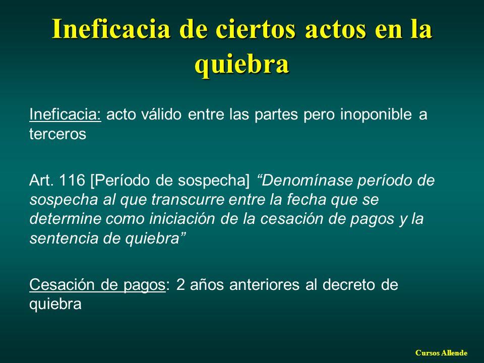 Cursos Allende Ineficacia de ciertos actos en la quiebra Ineficacia: acto válido entre las partes pero inoponible a terceros Art. 116 [Período de sosp