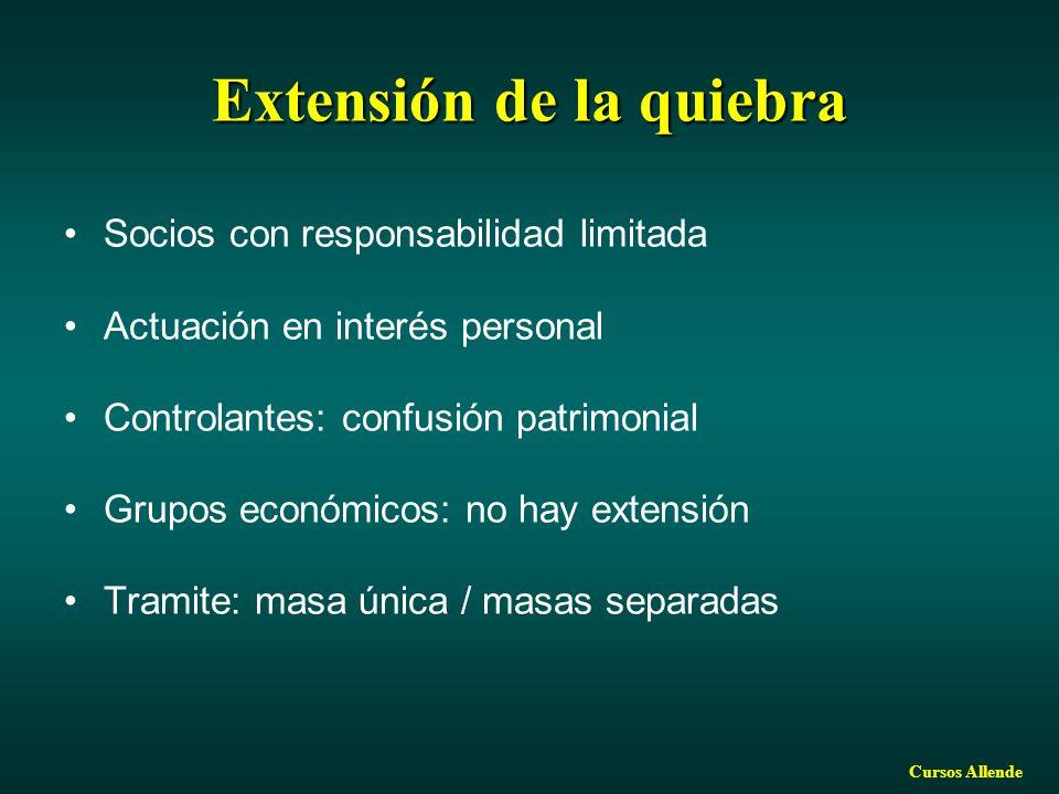 Cursos Allende Extensión de la quiebra Socios con responsabilidad limitada Actuación en interés personal Controlantes: confusión patrimonial Grupos económicos: no hay extensión Tramite: masa única / masas separadas